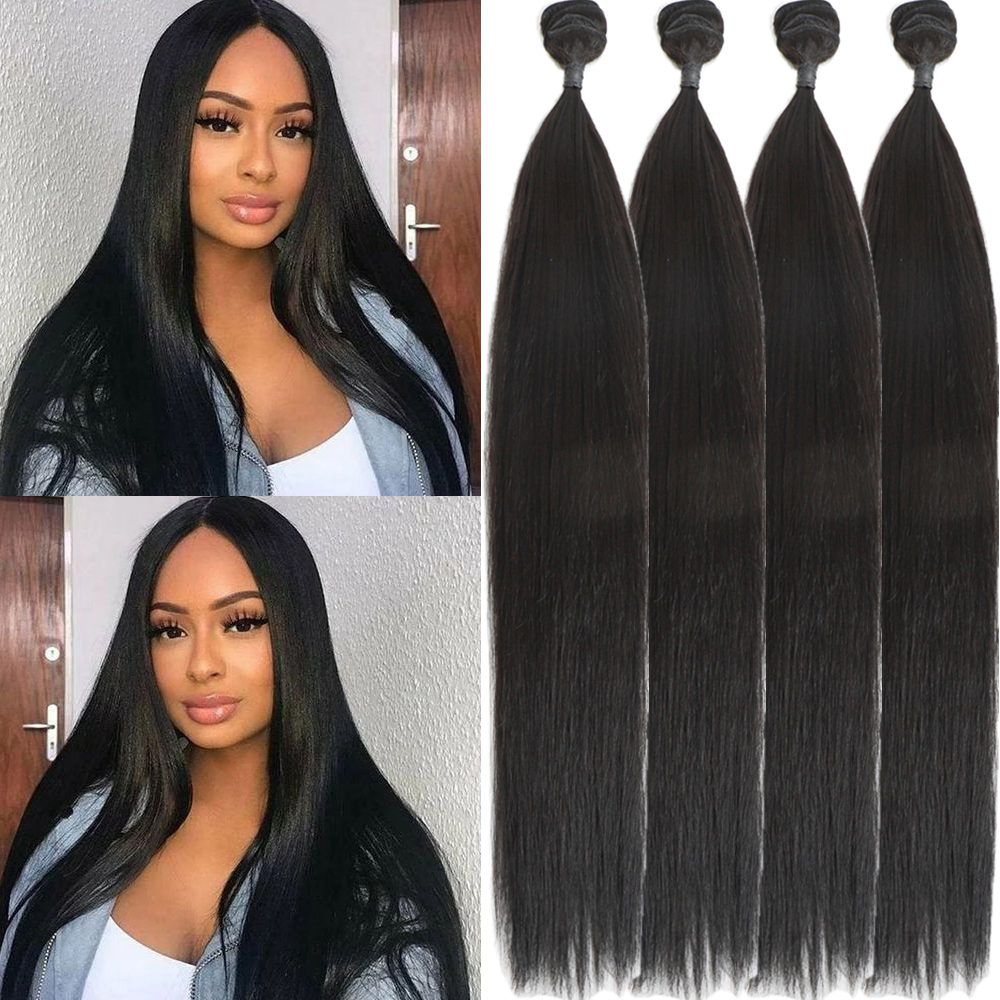 Hair-Bundles Weaves Synthetic-Hair One-Pack Long Women Straight for Black All-In title=
