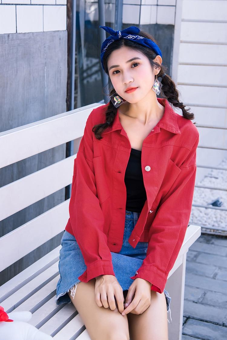 Jaqueta jeans vermelha feminina, casacos jeans vermelhos