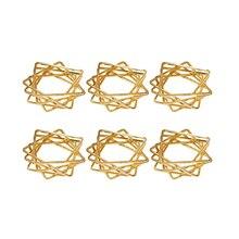 AU -6Pcs Polygon Star Design Napkin Rings Metal Napkin Holders for Wedding Birthday Party Decorations Golden