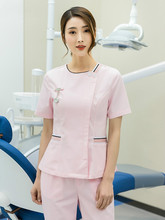 Stomatology Nurse's Uniform Beauty Salon Work Suit Manicurist Two Piece Ribbon Pink Nurse's Uniform