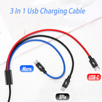 Cable de carga Usb tipo C 3 en 1, 2 m, 2 metros, para Huawei P20 Pro, Mate 20 Pro, Xiaomi Mi 9, 8, 3 en 1