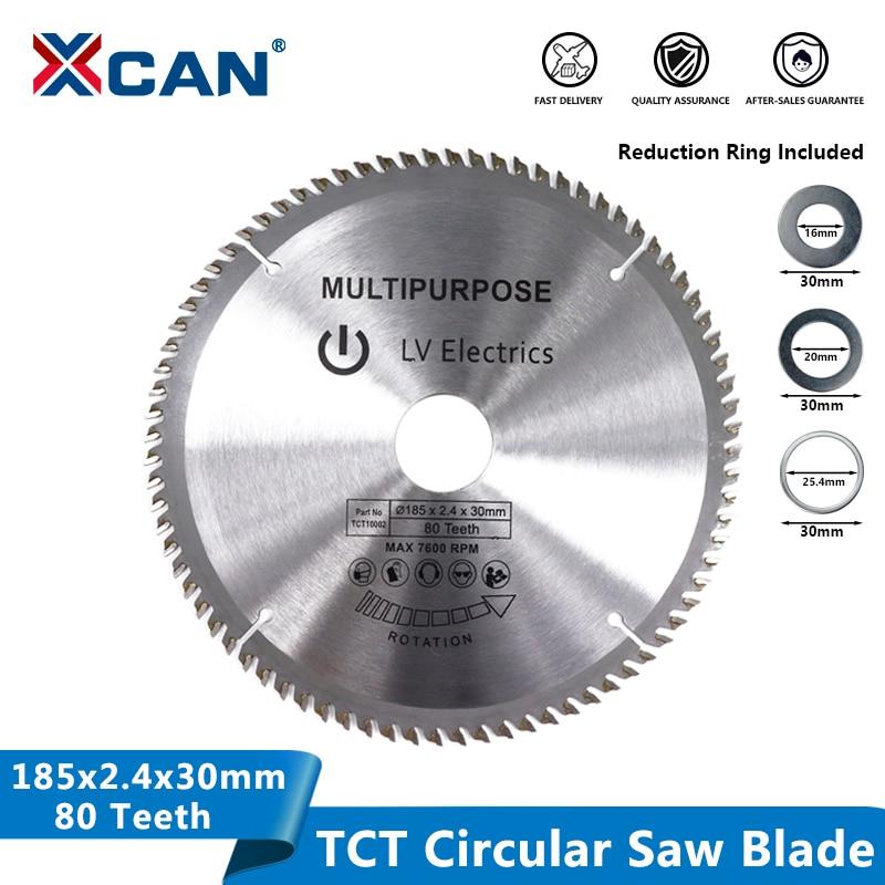 XCAN 1pc 185mm 80Teeth Wood Saw Blade TCT Circular Blade Wood Cutting Disc Carbide Tipped Saw Blade