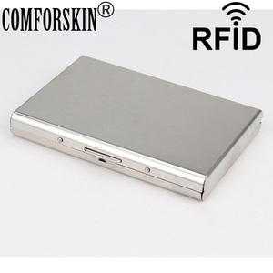 COMFORSKIN Credit Card Holder High Quality Stainless Steel RFID Blocking Slim Wallets Metal Case Holder Men Business Card Case(China)