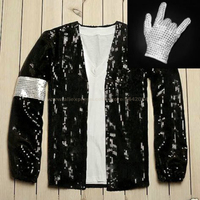 MJ Michael Jackson Coat Billie Jean Jacket & Glove Modern Dance Cosplay Costume Adult & Kids Clothing Hallowmas Party 1BLJD024