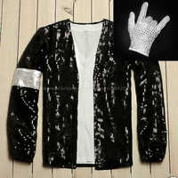 MJ Michael Jackson Mantel Billie Jean Jacke & Handschuh Moderne Dance Cosplay Kostüm Erwachsene & Kinder Kleidung Hallowmas Party 1BLJD024