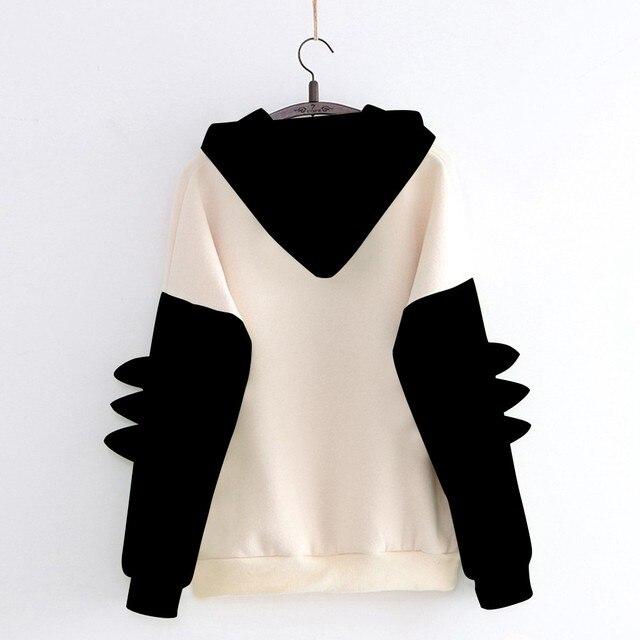 Fashion Women Sweatshirt Casual Print Long Sleeve Splice Dinosaur hoodies Sweatshirt Tops ropa mujer толстовка женская 2