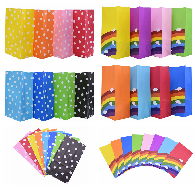 5/10pcs Rainbow Polka Dot Paper Candy Bag Stand Up Gift Bag For Wedding Party Decoration Kids Birthday Snack Wrapping Supplies75