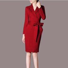 Autumn Womens Elegant Office Dress Black Red Pencil Bodycon Business Lady Casual Wear To Work Women Dresses