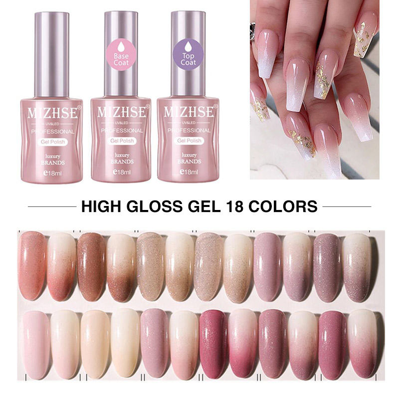 MIZHSE 18ML Glitter Gel Polish Manicure UV Gel Polish Japanese Style Nail Gel Glitter Luxury Nail Glue Top Base Art Manicure