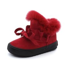 babaya Children Shoes Girls Snow Boots Plus Velvet Boots Shoes 2019 Winter New Girls Winter Shoes Cotton Boots Kids(China)