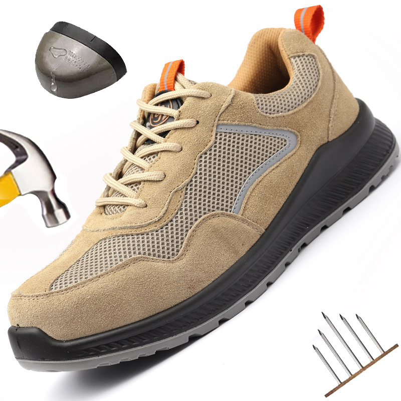 Men Shoes Steel Toe Cap Safety Shoes Indestructible Work Safety Sneakers Safety Boots Puncture-Proof Light Weight Breathable