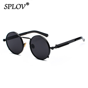 New Punk Sunglasses Men Women Retro Round Steam Brand Designer Small Circle Sun Glasses Vintage Metal Frame Driving Eyewear