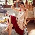 Nachthemden Frauen Strappy Rüschen Gedruckt Ärmellose Schlaf-shirts Baggy Weiche Bequeme Reizendes Mädchen Trendy Freizeit Nachtwäsche