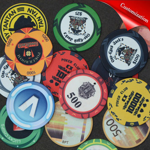 Image 1 - Customize Ceramic Chips Texas Poker Chips Professional Casino Poker Chips Set Round Casino Coin Customizable Party Event Souveni