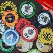 Personalize as microplaquetas cerâmicas do pôquer do texas microplaquetas profissionais do pôquer do casino ajustadas moedas redondas do casino personalizáveis lembranças do evento da festa