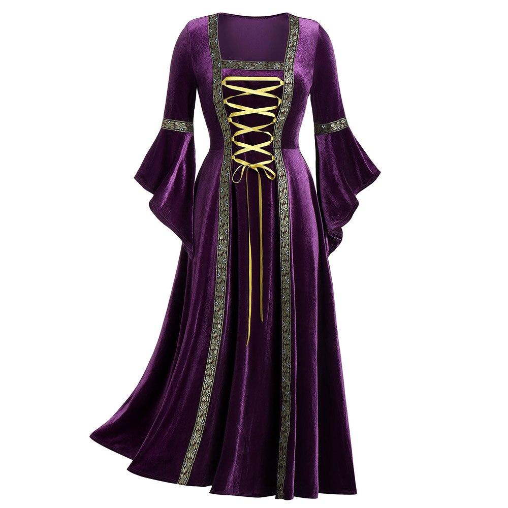 ROSEGAL grande taille Flare manches à lacets velours gothique Robe Maxi col carré laçage a-ligne femmes Vintage robes de soirée Robe 2019