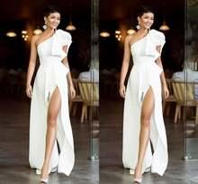 Простые Длинные вечерние платья трапециевидной формы с одним