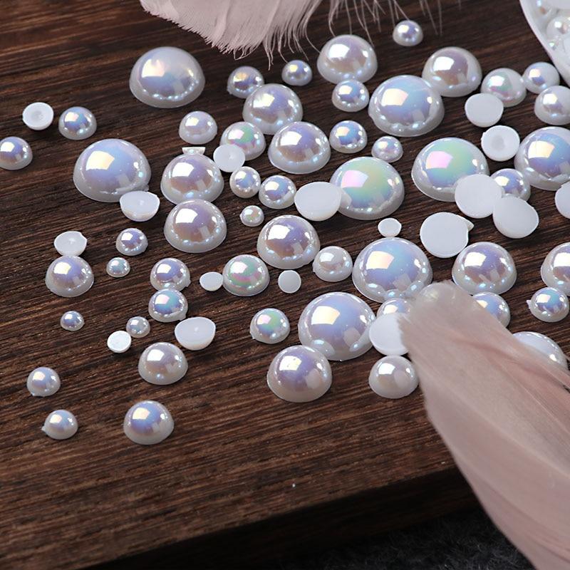 Half Round Resin Imitation Flatback Pearl Beads for Jewelry Making Nail Art Dec