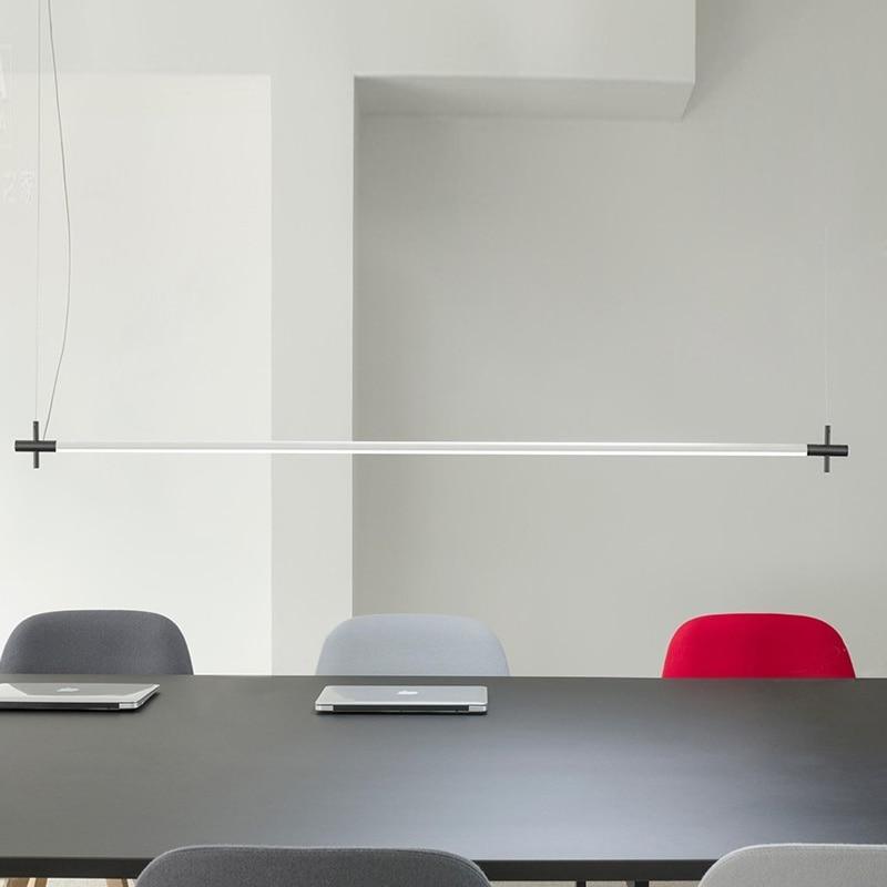 Minimalist Designer Strip Pendant Lamp Restaurant Dining Room Pendant Lights Modern LED Strip Hanging Lamp Office Light Fixtures