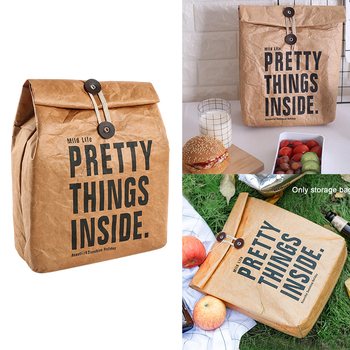 Bolsa de almuerzo lavable para acampar, actividades al aire libre, caja de enfriador reutilizable de almacenamiento de alimentos no tóxico de papel marrón aislado Durable para viajes