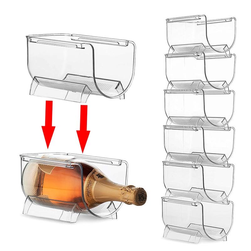4Pcs/Set Transparent Stackable Wine Rack Kitchen Countertop Refrigerator Bottles Display Shelf Home Bar Supplies