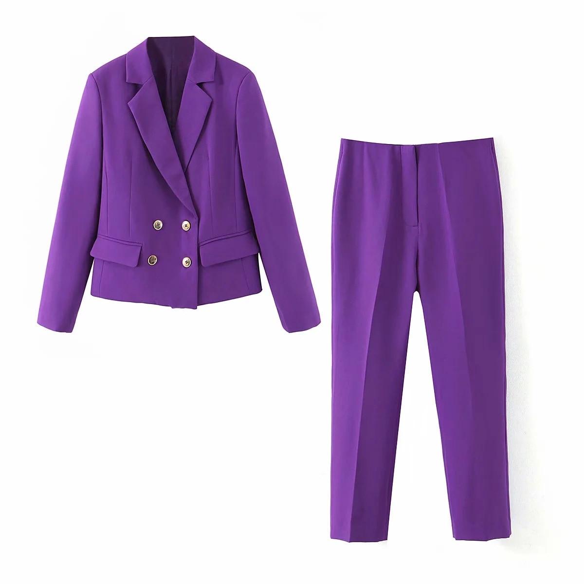 2020 Spring And Autumn New Casual Women's Suit Pants Two-piece Fashion Purple Short Ladies Blazer Elegant Trousers