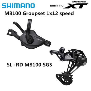 Zestaw grupowy SHIMANO DEORE XT M8100 zestaw rowerowy 1 #215 12-Speed SL + RD oryginalna przerzutka tylna M8100 dźwignia zmiany biegów m8100 tanie i dobre opinie Przerzutka przednia other Przerzutki 12 prędkości SL+RD-M8100 Stop Black