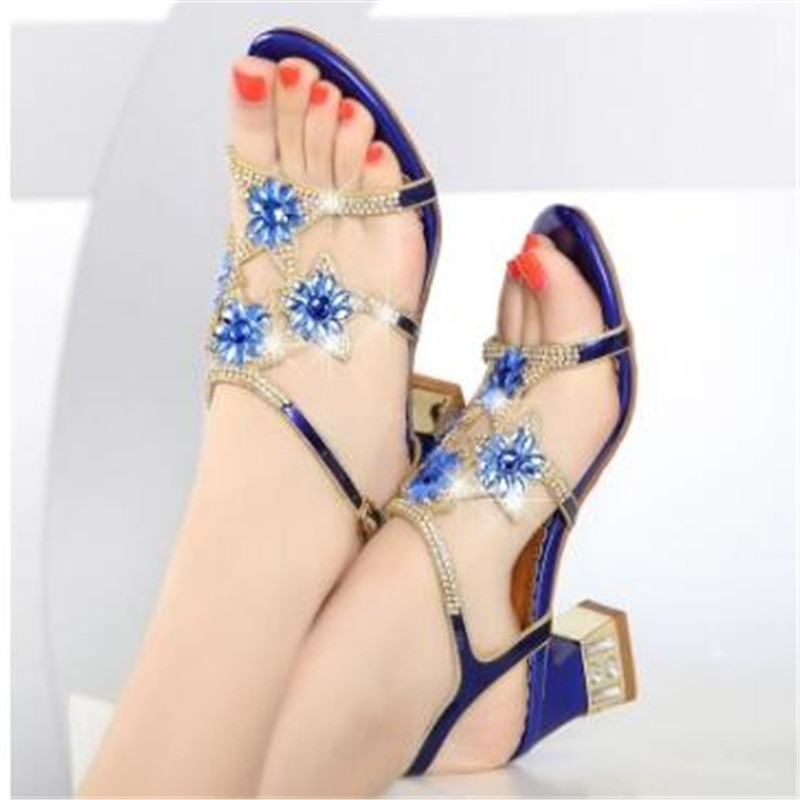 High Quality New Many Colour Round Toe Fashion Sandals Women Shoes High heeled Comfortable Crystal Lady Shoes Flower Crystal Sandals Eu size 33 41 purple blue gold