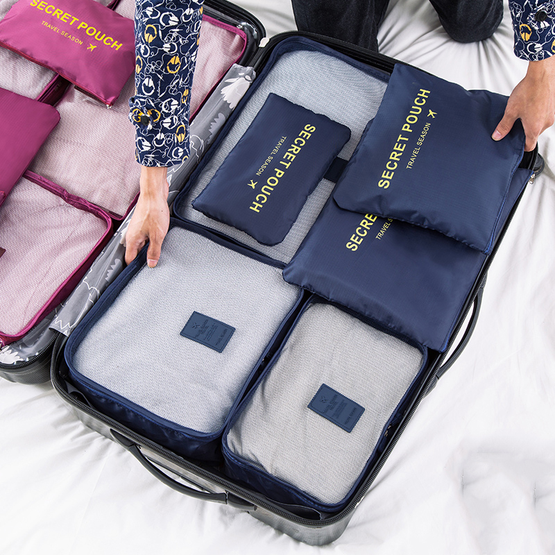 6pcs Waterproof Pouch Packing Cube Women Travel Clothes Storage Bag Luggage Clothes  Organizer Cosmetic Toiletrie Accessories