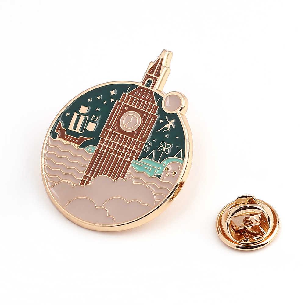Castle Mercusuar Enamel Pin Perahu Bros Kemeja Kerah Bulat Tas Lencana Perhiasan Hadiah untuk Teman-teman