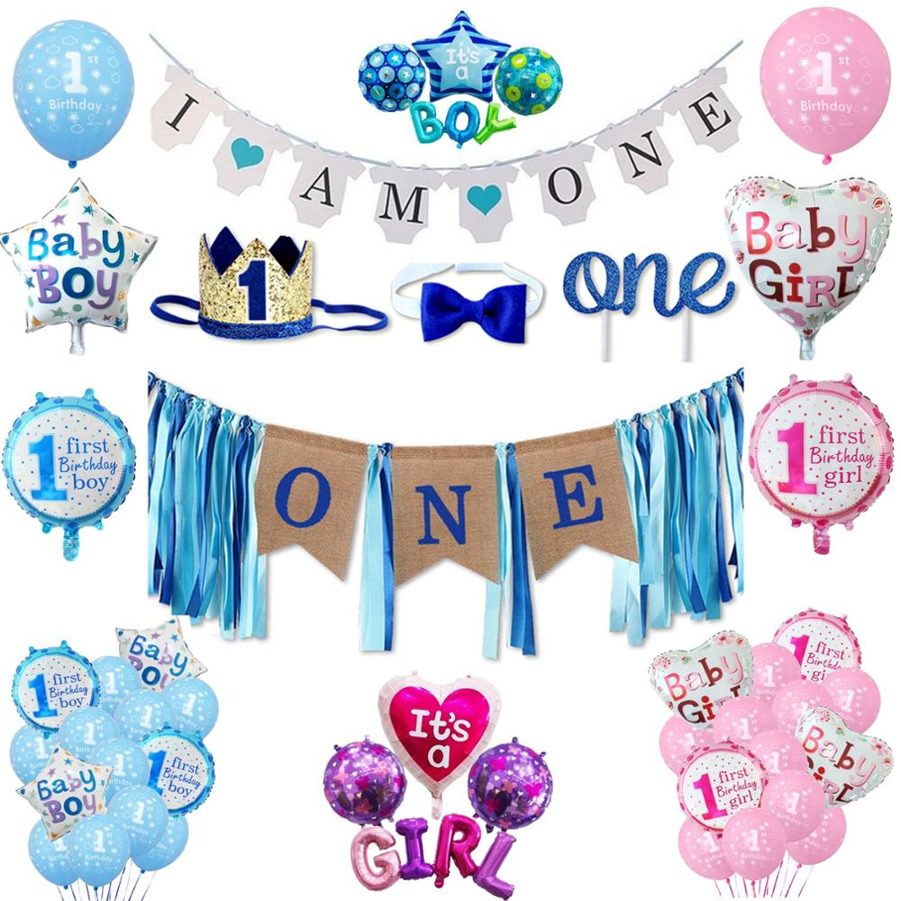 Голубые розовые шары для детского дня рождения, фоторамка, корона, шляпа, баннеры, гирлянды для детей, для маленьких мальчиков и девочек, для ...