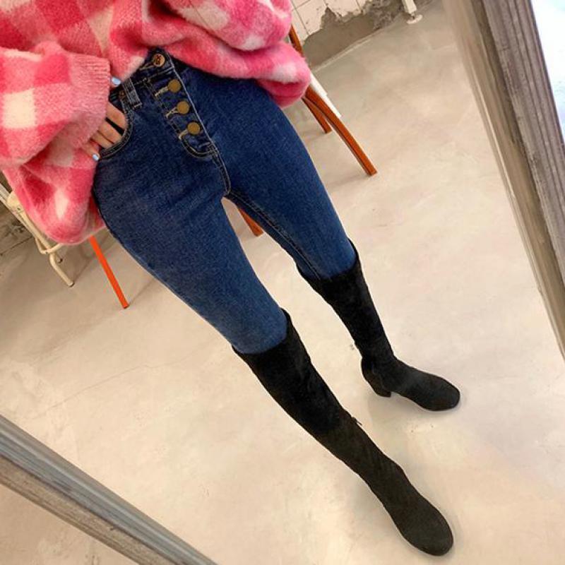 Genayooa Skinny Jeans Woman Korean Casual Slim High Waist Jeans Woman 2019 Elastic Demin Jeans Pants For Ladies Streetwear