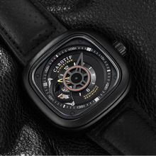 2020 CAROTIF Military Sport Automatic Watch Men Square Leather Strap Mens