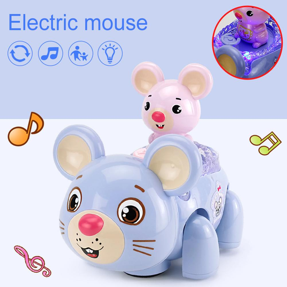 Electric Cartoon Mouse Car 360 Rotation Walking LED Music Education Kids Toy Electronic Animal Pets Toys