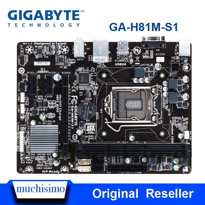 GIGABYTE GA-H81M-S1 H81M-S1 carte mère de bureau H81 Socket LGA 1150 i3 i5 i7 DDR3 16G micro-atx UEFI BIOS d'origine remis à neuf