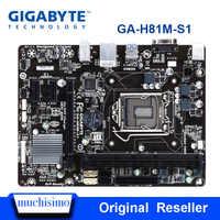 Gigabyte GA-H81M-S1 H81M-S1 desktop placa-mãe h81 soquete lga 1150 i3 i5 i7 ddr3 16g micro-atx uefi bios original remodelado