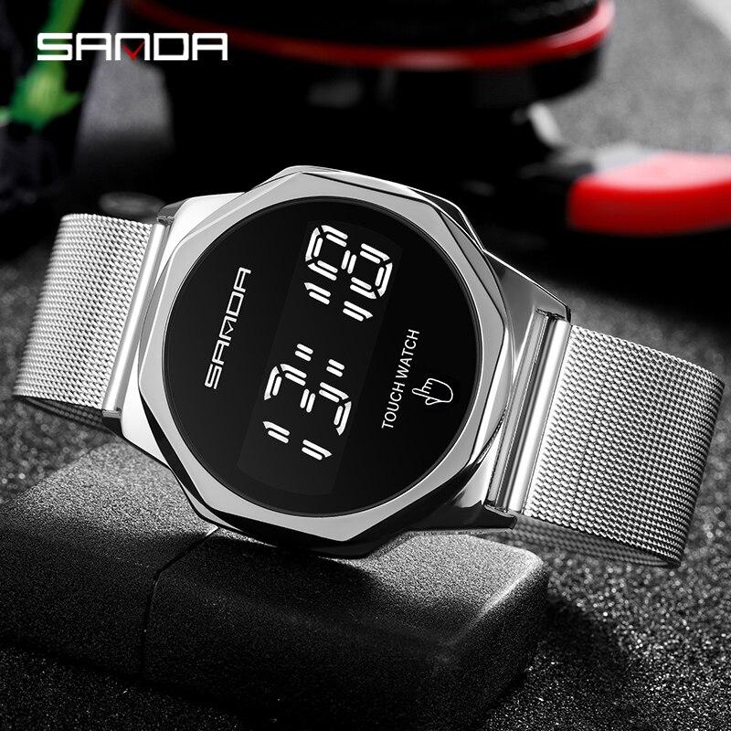Montre-Bracelet numérique pour hommes, marque supérieure SANDA LED, mode, horloge, écran tactile, montre pour hommes 5