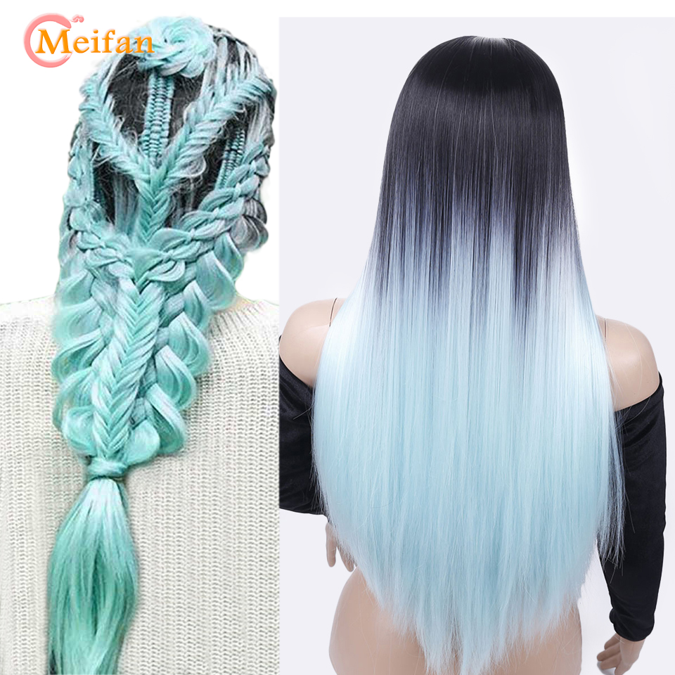 MEIFAN Ombre Pink Cosplay Wigs Heat Resistant Synthetic Long Straight Hair Blue Purple Grey Black Colored Fashion Wigs For Wome