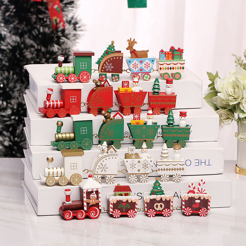 LuanQI Christmas Ornament Wooden Train Merry Christmas Decorations For Home Xmas Gift Santa Claus Happy New Year 2022 Noel 2021