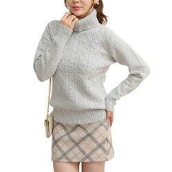 LONGMING 100% мериносовая шерсть Зимний кашемировый свитер женский пуловер с высоким воротом зимний женский толстый теплый джемпер вязаный свит...