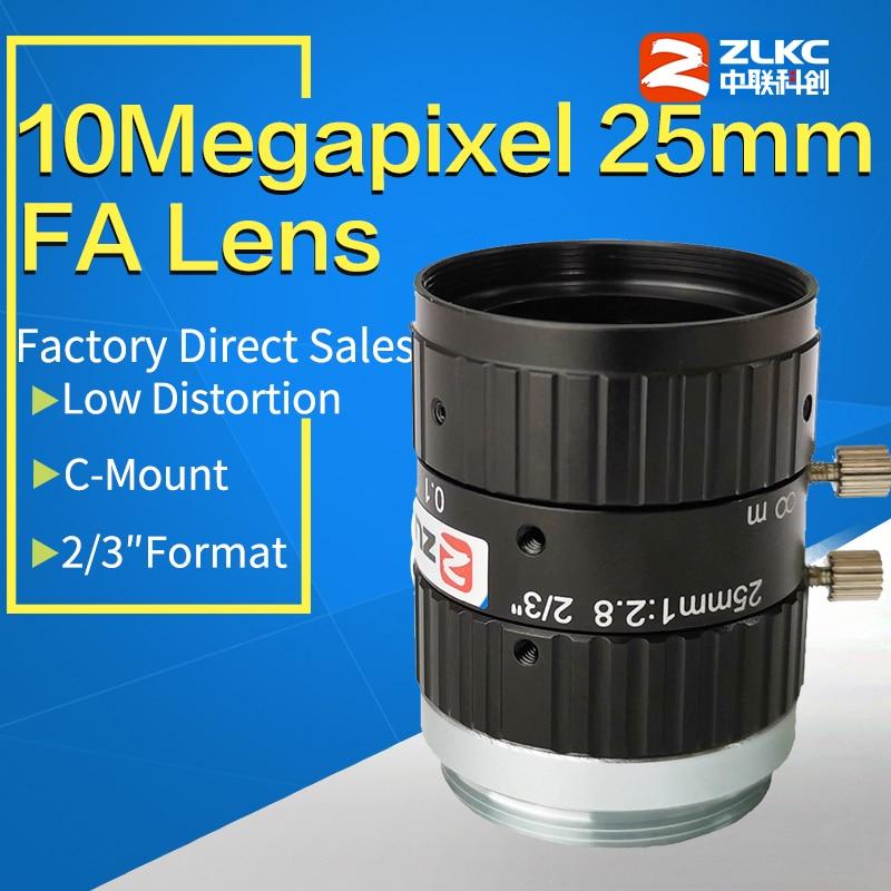 "10MegaPixel C Mount 25mm 2/3""FA Machine Vision fixed focal length lenses Industrial camera manual  Iris CCTV Lens low distortion"