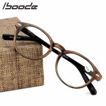IBOODE imitacja drewna ziarna okulary do czytania okulary kobiety mężczyźni okrągłe okulary korekcyjne okulary kobieta mężczyzna nadwzroczność okulary okulary tanie tanio Przezroczysty Unisex Lustro 6 2cm Z tworzywa sztucznego YJ7205 4 5cm Reading Glasses Vintage Retro Fashion Trendy Classic Casual Elegant