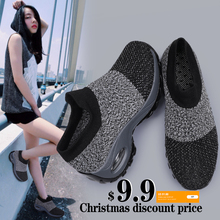 Damyuan Shoes Woman Fashion Mesh Flat Soft 2020 New Spring Casual Breathable Loafers Air Cushion Platform Sock Sneakers Female