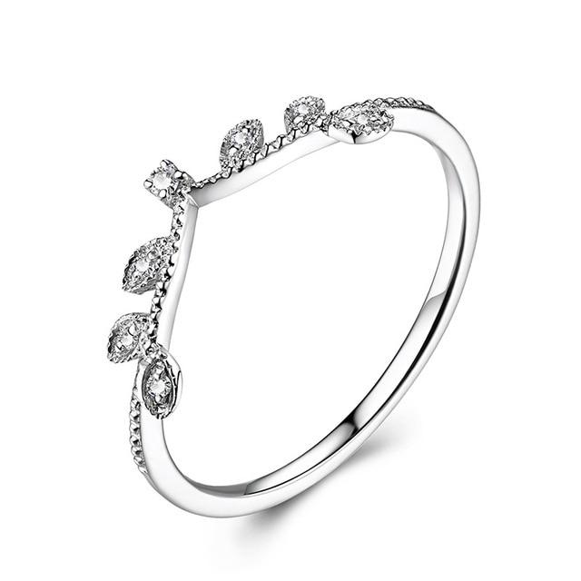 Elegant Crown Diamond 18K Genuine Real True Solid Gold Rings Bands for Women Lady Girlfriend Fancy Upscale Office Jewelry Gift 3