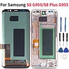 Super amoled LCD do samsunga S8 Plus G955/S8 G950 wyświetlacz LCD montaż digitizera ekranu dotykowego brak burnshow nie martwy piksel