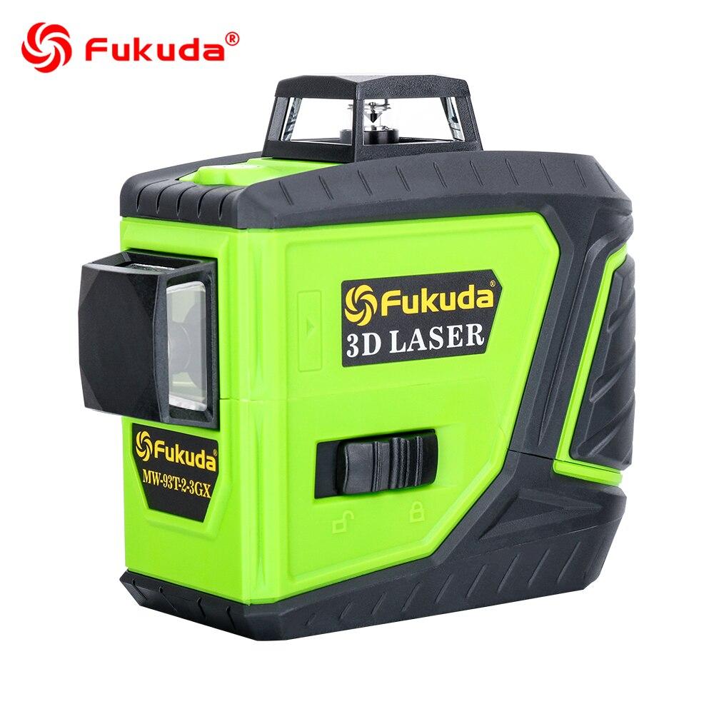 Fukuda nível a laser rotativo 360 linhas 12 3D verde feixe laser leveler Auto-Nivelamento Cruz linha de laser Horizontal e Vertical MW-93T novo