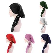 Beanies Skullies Chemo Bonnet Turban Bandanas Cancer-Cap Long-Tail Heandscarf Fashion