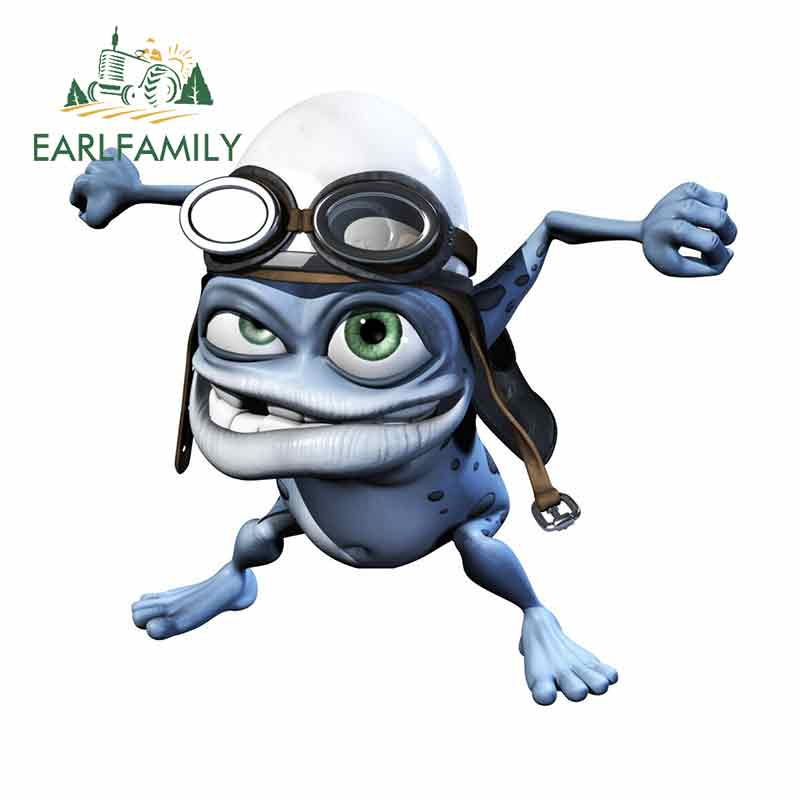 EARLFAMILY 13cm X 11.9cm For Funny Crazy Frog Anime Car Stickers Vinyl JDM Bumper Trunk Truck Graphics Waterproof Cartoon Oem
