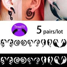 5 pares de acrílico falso giro oído cono expansor de medidores tramposo pendiente en espiral macho cuerpo Punk joyería Piercing 16g pendiente de oreja