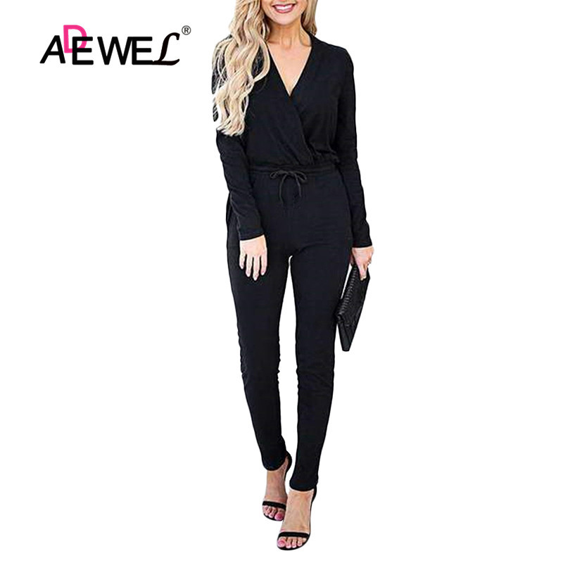 ADEWEL 2019 Elegant Long Sleeve Jumpsuit For Women Autumn Sexy Solid Sashes  Jumpsuit Elegant Overalls Casual  Party Jumpsuit